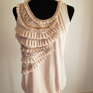 Sz L Loft cream knit top with ruffles and beading